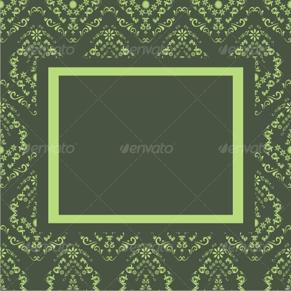 Seamless floral background with frame - Backgrounds Decorative