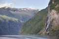 Norwegian fjord landscape. Hellesylt, Geiranger route. Tourism Norway