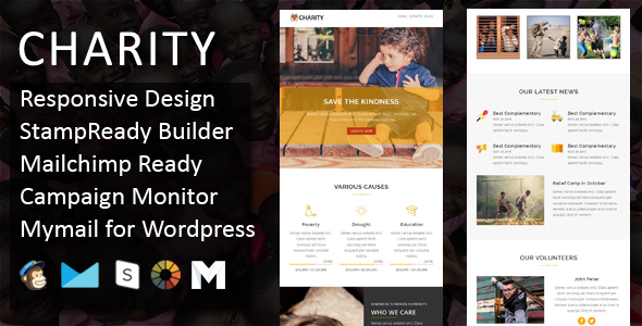 Charity - Responsive Email Template + Stampready Online Builder Access