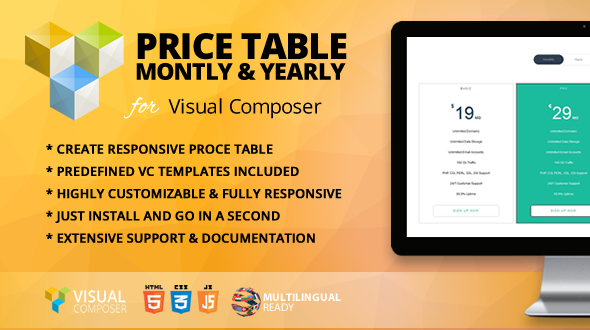 Value Table Month-to-month &amp Yearly Addon for Visual Composer (Add-ons)
