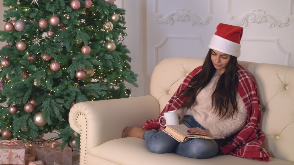 VideoHive New Year Eve Female Relaxing in Flat 18970313
