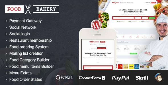 Download Food Bakery | Hotel | Restaurant Responsive WordPress Theme nulled download