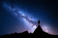 Milky Way with silhouette of people. Night landscape