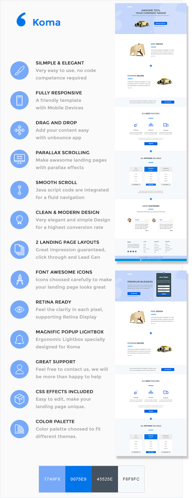 Koma - Premium Marketing Unbounce Landing Page