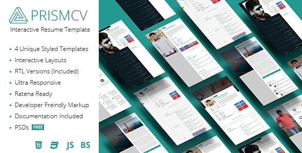 PrismCV - Stylish & Interactive Resume / CV Template