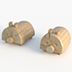 pig wooden playground equipment Set 3D