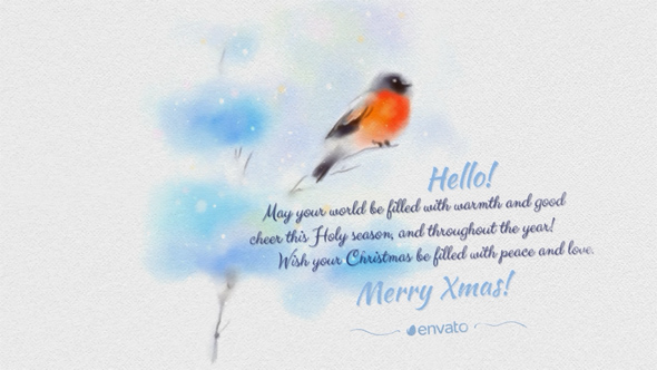 VideoHive Painted In Watercolor Christmas Card 18974827