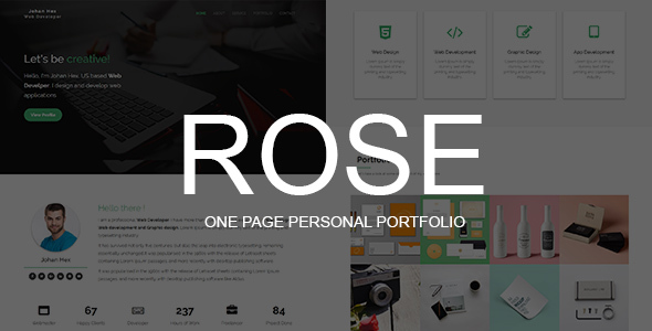 Download Rose - One Page Personal Portfolio Template