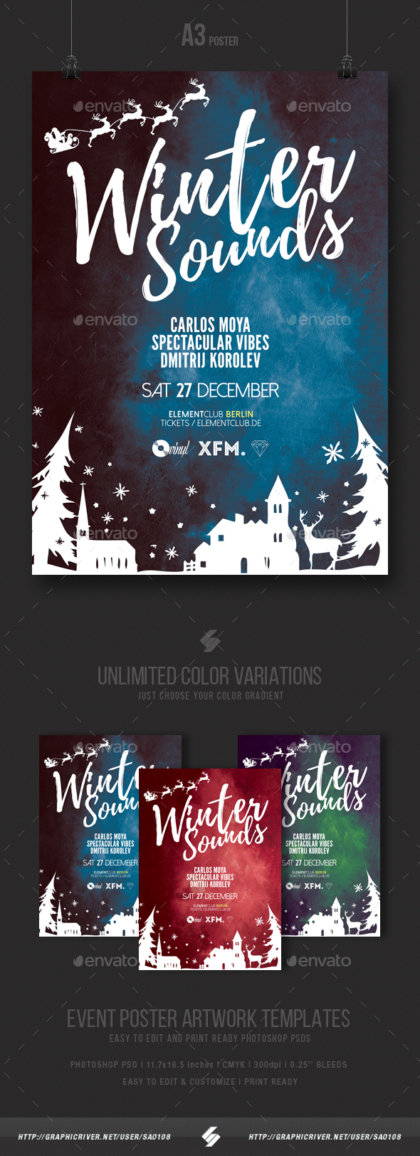 Winter Sounds - Christmas Party Flyer / Poster Template A3