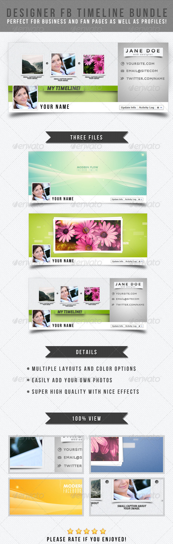 Designer Facebook Timeline Bundle - Facebook Timeline Covers Social Media