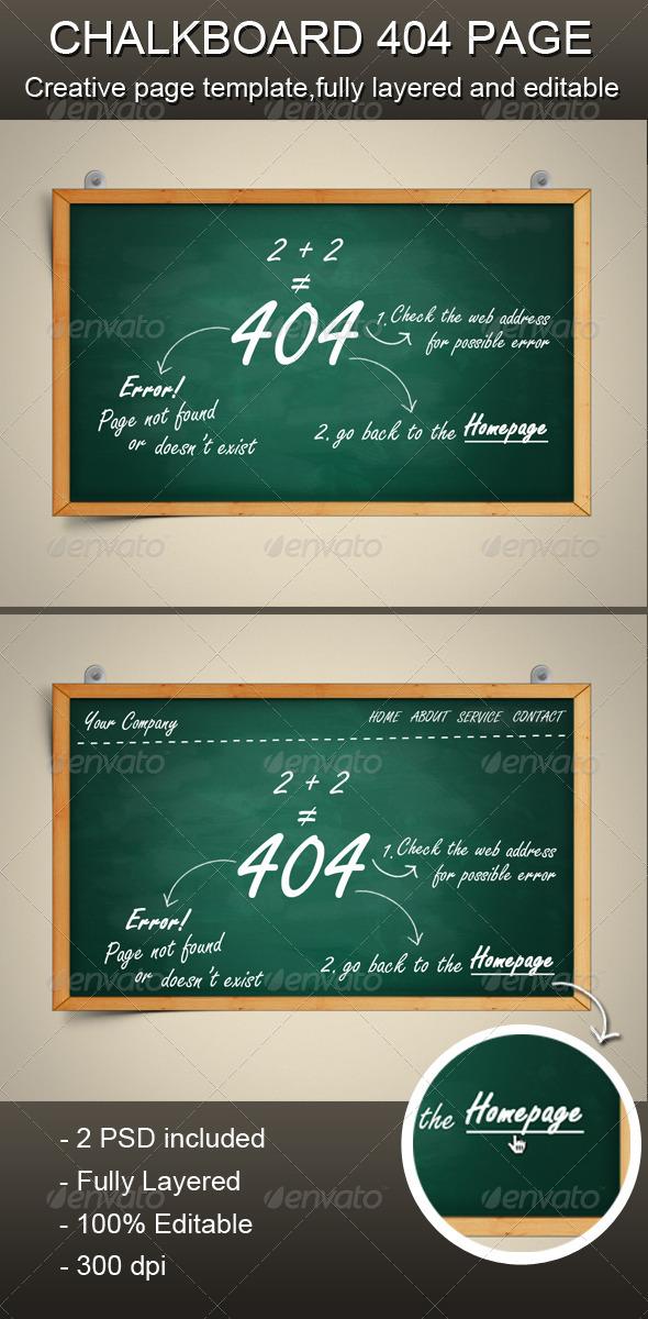 GraphicRiver Chalkboard 404 Error Page 1825675