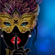 Silhouette of Mysterious Lady in Golden Carnival Mask