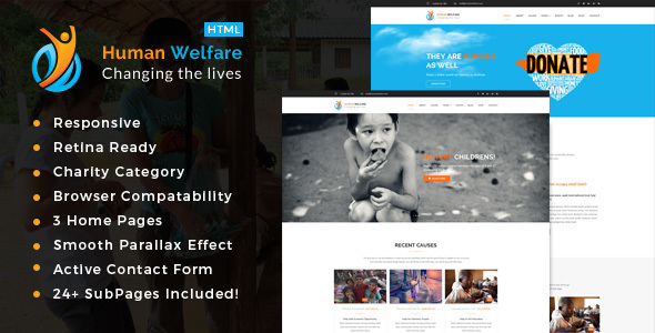 Human Welfare - Responsive HTML Template for Charity & Fund Raising