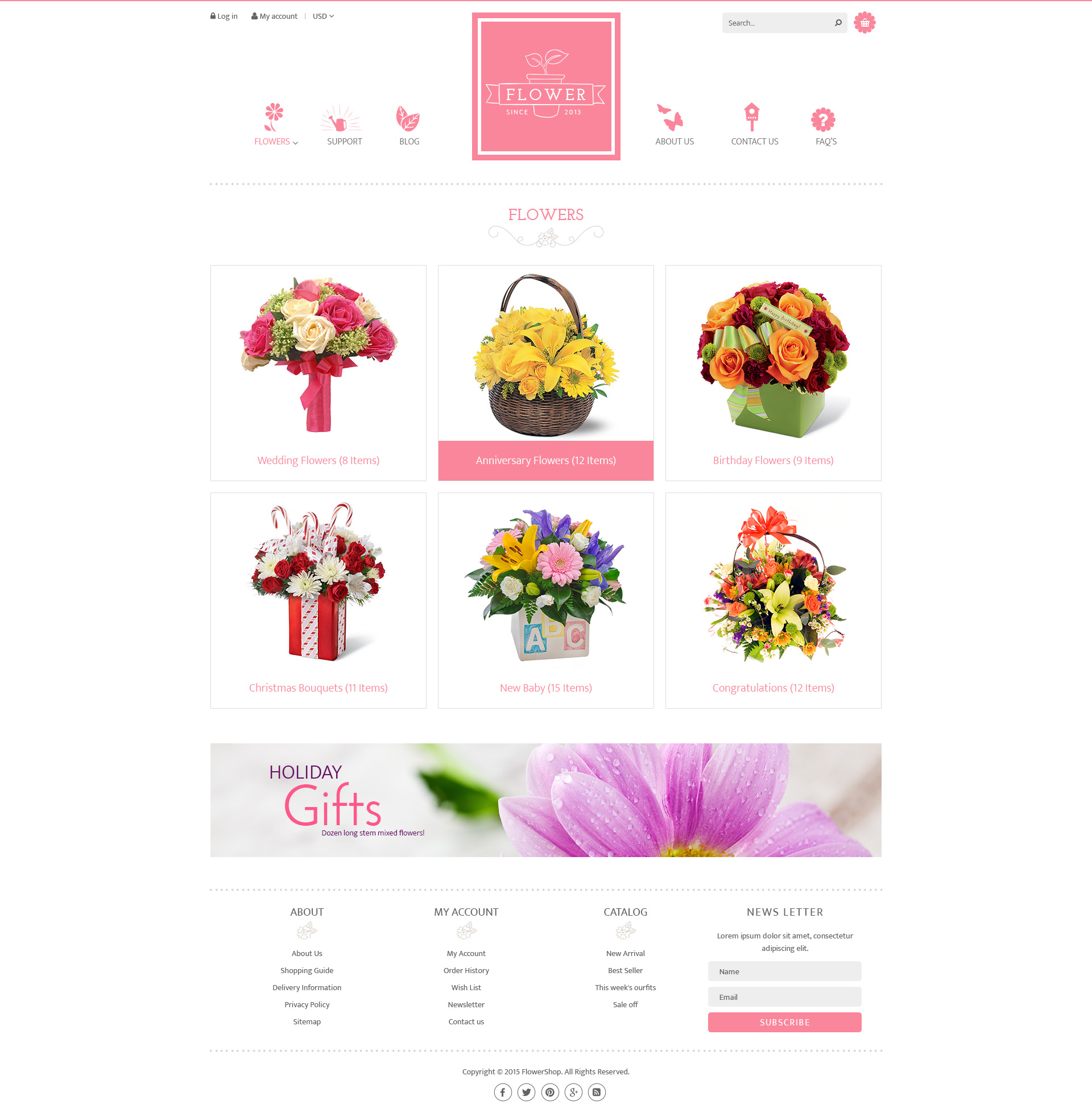 Flower store psd design template by tvlgiao themeforest for Flower shop design layouts