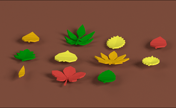 3DOcean Low poly Leafs Pack 18999495