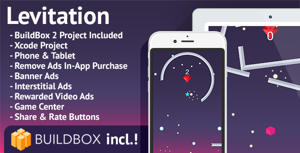 Levitation: iOS, BuildBox Included, Easy Reskin, AdMob, RevMob, HeyZap, Remove Ads