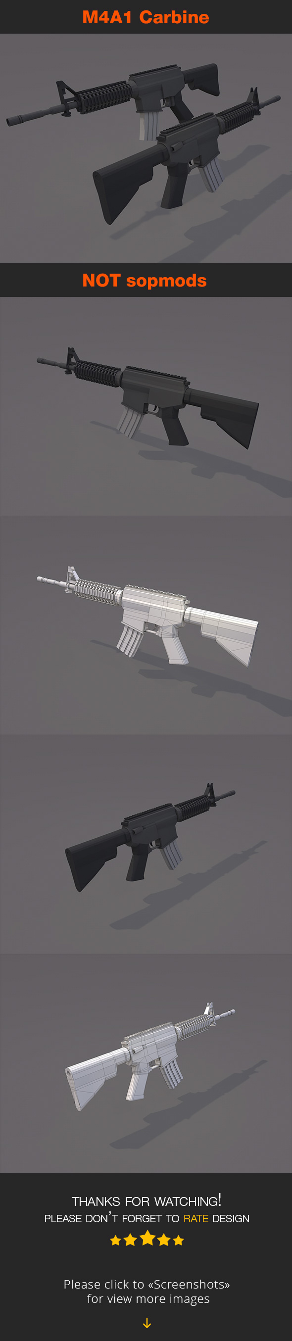 M4A1 Carbine NOT sopmods - 3DOcean Item for Sale