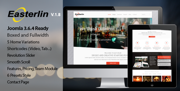 theme preview.  large preview - Easterlin - Responsive Joomla Business Template