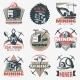 Coal Mining Emblems Set