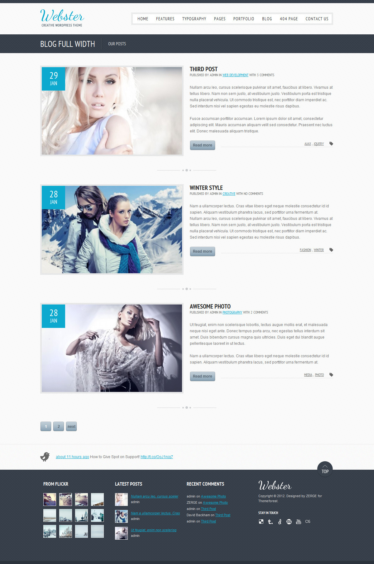 Webster - Creative WordPress Theme - Full Width Blog