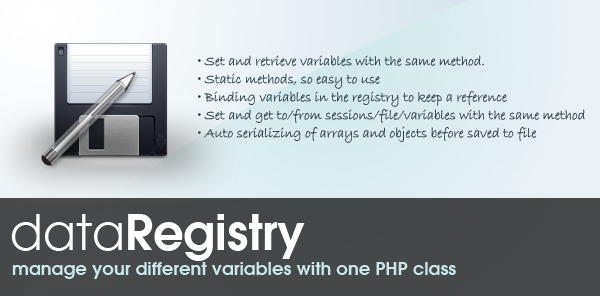 Registry Class - Manage your PHP variables with one class.