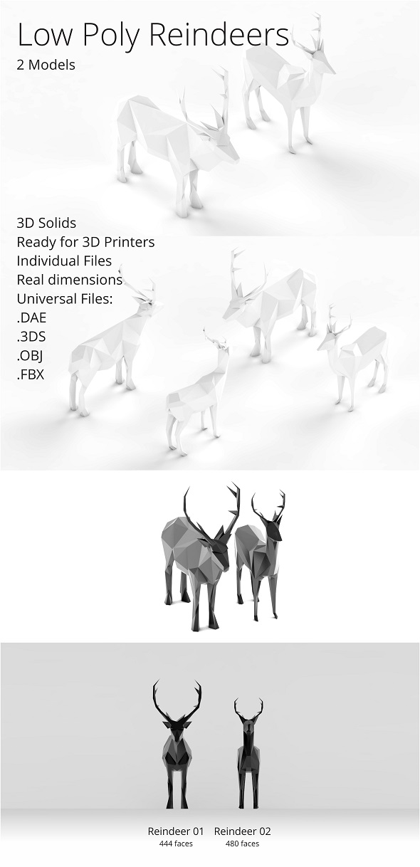 Low Poly Reindeers - 3DOcean Item for Sale