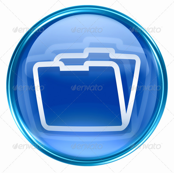 Folder icon blue, isolated on white background - Stock Photo - Images