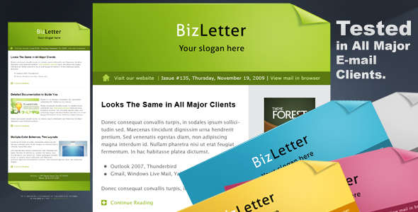 BizLetter - E-mail Template - 5 colors - 590 x 300 px preview image for the home page of BizLetter-template.