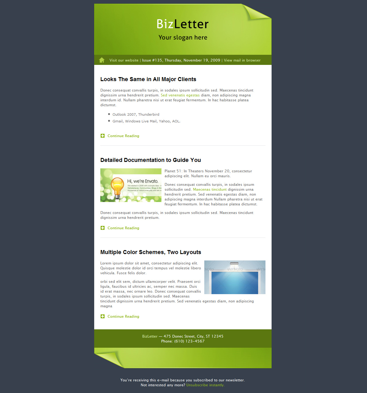 BizLetter - E-mail Template - 5 colors - The full-width version with no sidebars in the default color (green).