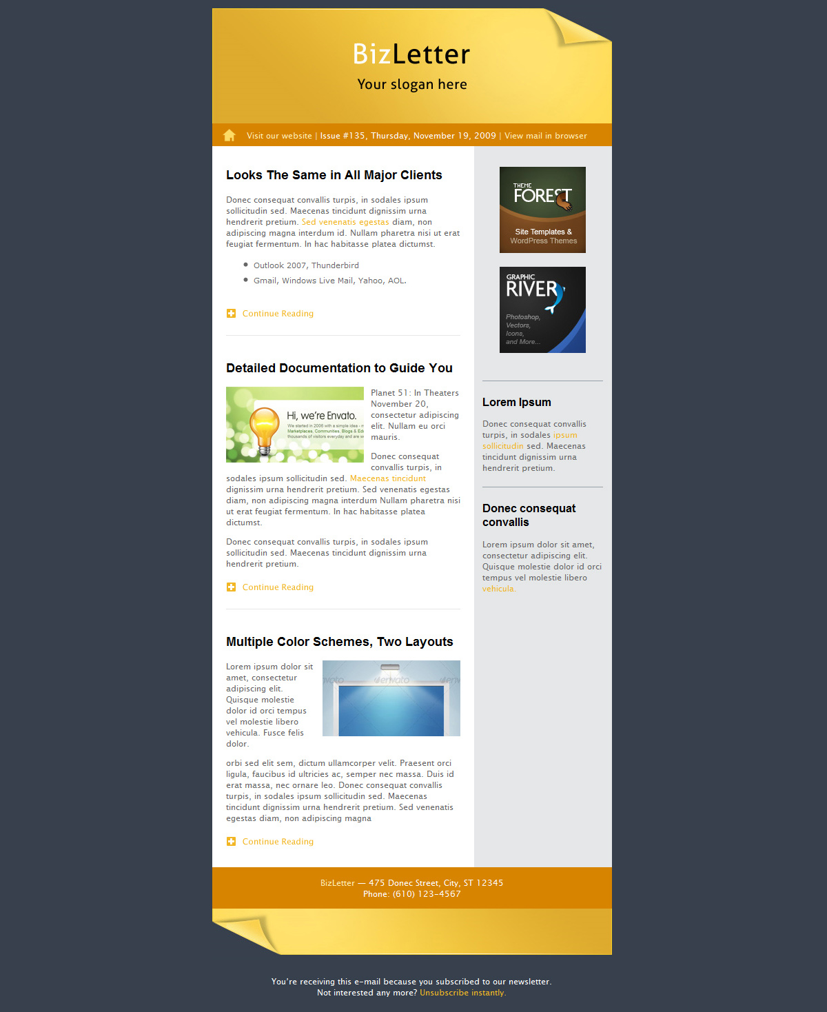 BizLetter - E-mail Template - 5 colors - right-sidebar layout in yellow/orange.