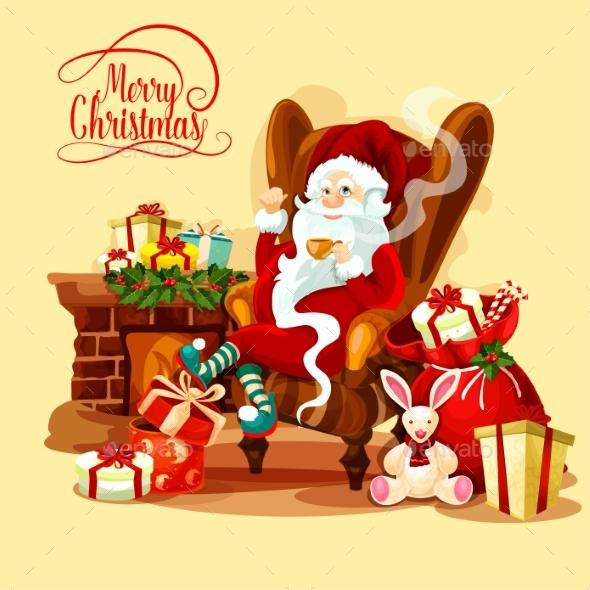 Christmas Card with Santa Sitting Near Fireplace