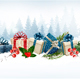 Holiday Christmas Background With A Gift Boxes Vector.