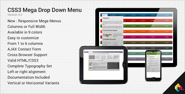 CodeCanyon CSS3 Mega Drop Down Menu 126387