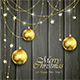 Golden Christmas Balls on Black Wooden Background