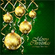 Green Christmas Background with Balls and Golden Tinsel
