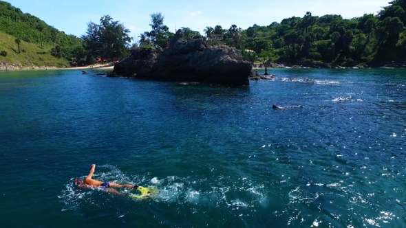 VideoHive Aerial Snorkelling Near the Beach 19014498