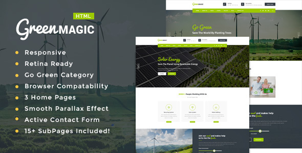 Image of Green Magic - Environment / Non-Profit HTML Template