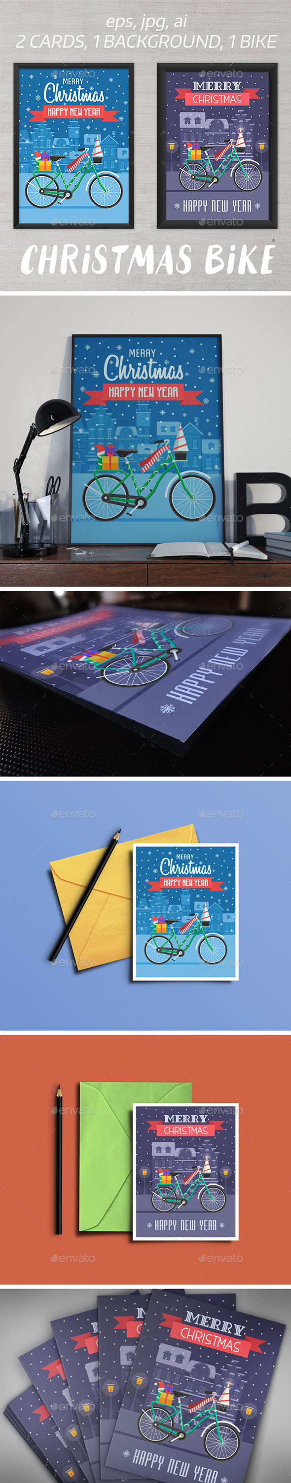 Christmas Bike Greetings Cards