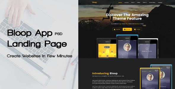 Bloop - PSD App Landing Page