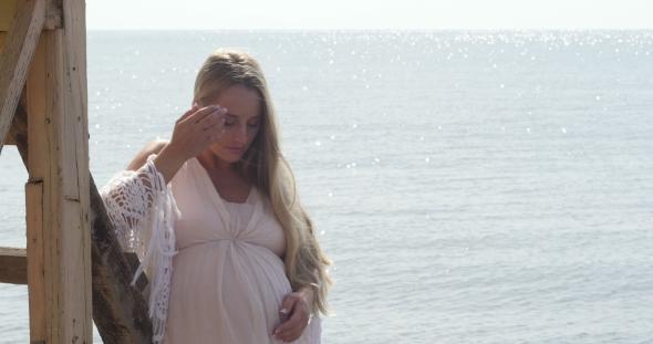 VideoHive Beautiful Pregnant Woman Over Sea 19016569