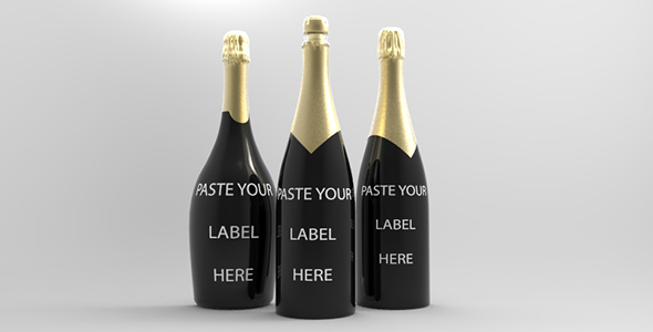 Champagne Bottle For Presentation Mockup - 3DOcean Item for Sale