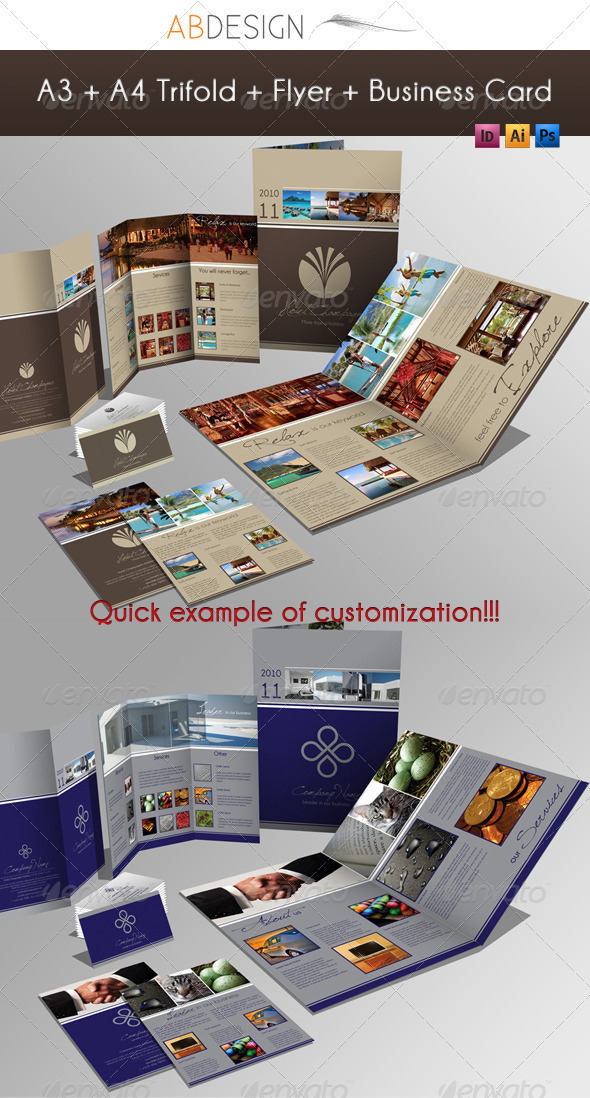GraphicRiver A3 & A4 Trifold Brochure & Business Card 201668