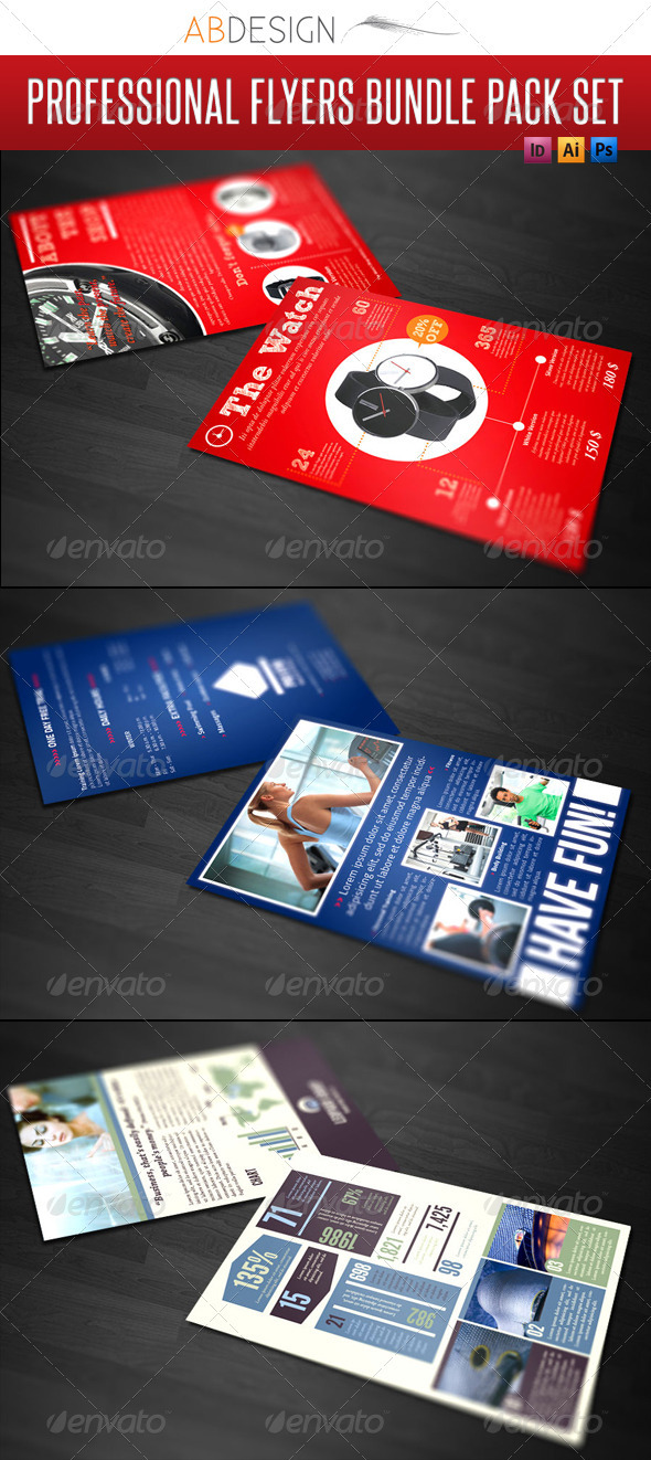 3 Professional Flyers Bundle Pack Set - Corporate Flyers