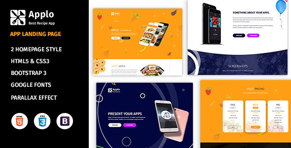 Applo - Application, Product, Food, and Recipe Marketing Landing Page