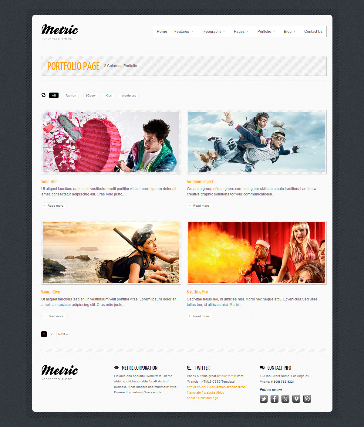 METRIC - Premium WordPress Theme - Portfolio