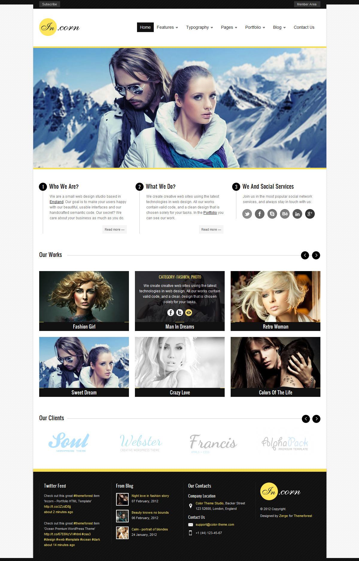 Incorn - Portfolio HTML Template - Home Page