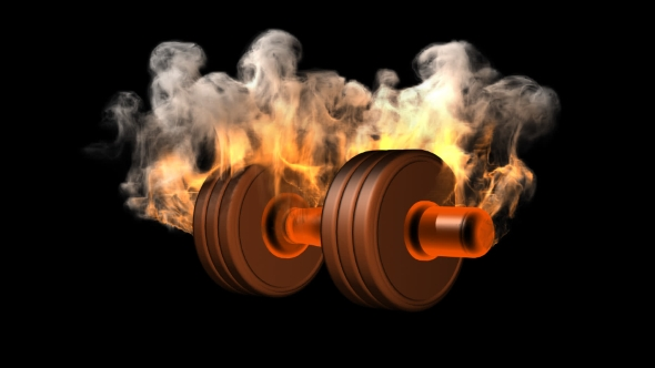 Download Burning Dumbbell with Alpha Channel nulled download