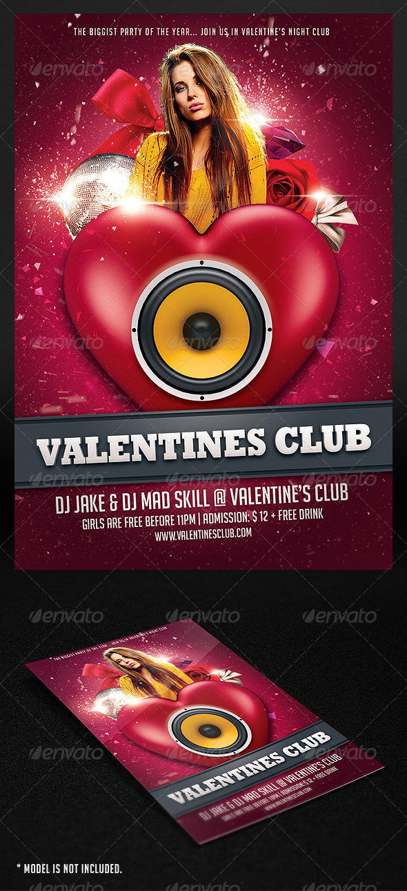 GraphicRiver Valentine Club Flyer 1359036