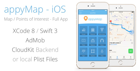 appyMap - iOS Points of Interest Map - Location Based App - Swift / Xcode - CodeCanyon Item for Sale