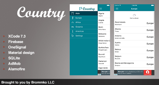 Country - Full template app for iOS and Android